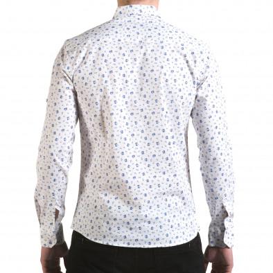 Мъжка бяла риза с малки цветя Buqra 5