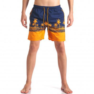 Мъжки сини бански с оранжеви палми Austar Jeans 4