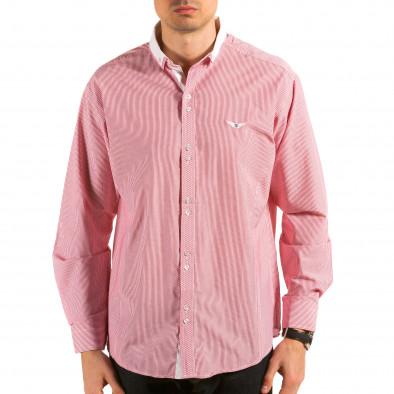 Мъжка червено-бяла раирана риза il180215-178 3
