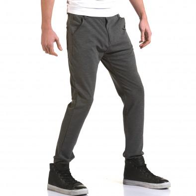 Мъжки светло сив панталон с малък детайл отпред it090216-1 4
