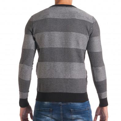 Мъжки черно- сив пуловер с фини райета it170816-3 3