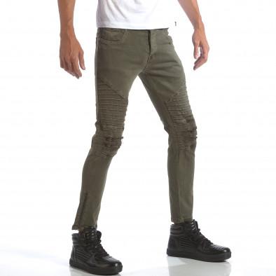 Мъжки зелени дънки със скъсвания и кръпки it160817-10 4