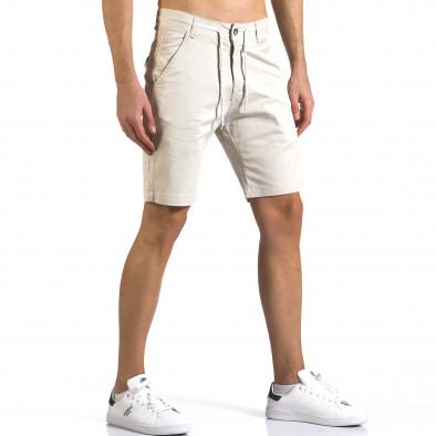 Мъжки бежови къси панталони с връзки it110316-40 4