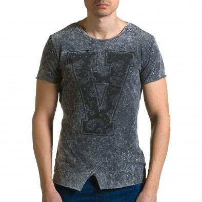 Мъжка сива асиметрична тениска с обърната буква А Adrexx 4