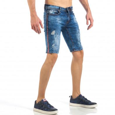 Мъжки тъмно сини къси дънки с трицветни кантове it260318-116 3