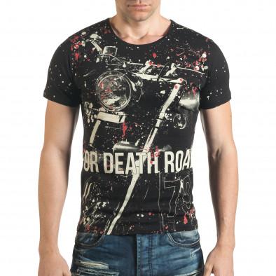 Мъжка черна тениска рокерска с разноцветни пръски боя il140416-62 2