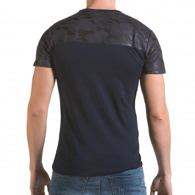 Мъжка синя тениска с камуфлажна част на раменете il170216-47 3