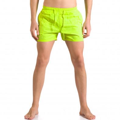 Мъжки неоново зелени бански с бандаж тип шорти ca050416-3 2