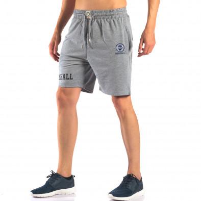 Мъжки сиви шорти с емблема it160616-4 4