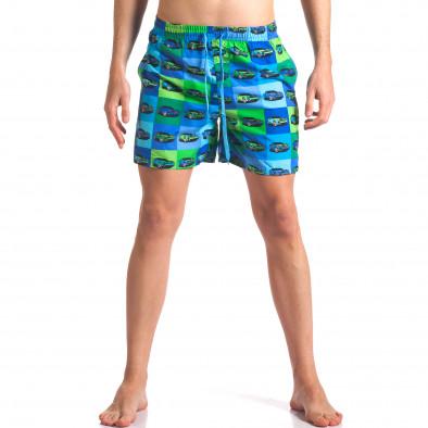 Синьо-зелени мъжки бански с принт колички it260416-43 2