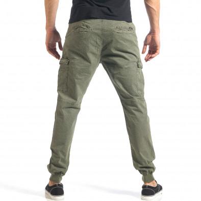 Мъжки зелен карго панталон с малки детайли по плата it290118-26 4