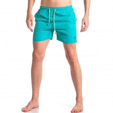 Светло сини мъжки бански с лого tsf250416-69 2