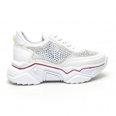Дамски бели маратонки с камъчета tr180320-16 2