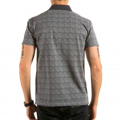 Мъжка сива тениска с яка с малки стрелкички il180215-105 3