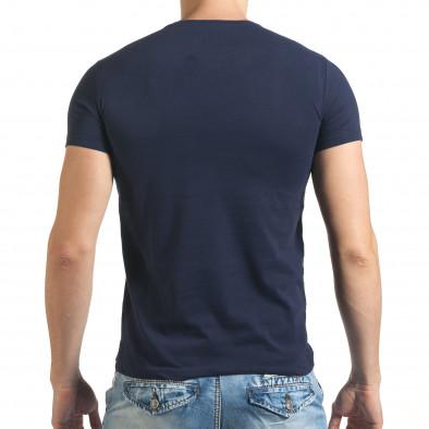 Мъжка синя тениска с яка щампа отпред il140416-41 3