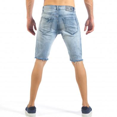 Мъжки къси дънки с бели кантове и избелял ефект it260318-113 4