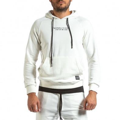Мъжки бял суичър с качулка и контраст tr070921-35 3