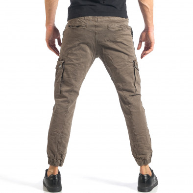 Мъжки зелен карго панталон с ленти отстрани it290118-11 3