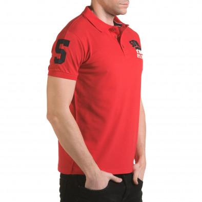 Мъжка червена тениска с яка с релефен надпис Super FRK il170216-24 4