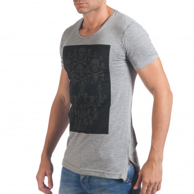 Мъжка сива тениска с черепи отпред Eksi 5