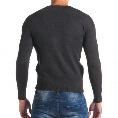 Мъжки тъмно сив изчистен пуловер с остро деколте it170816-48 3