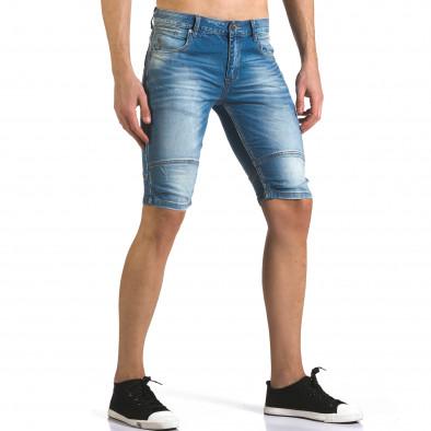 Мъжки светло сини къси дънки с допълнителни шевове it110316-62 4