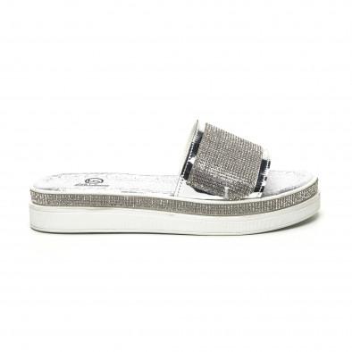 Дамски сребристи чехли с камъчета tr180320-3 2