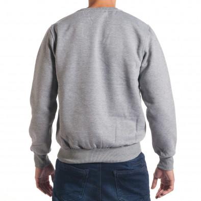 Мъжки сив суичър с надпис и емблема it240816-18 3