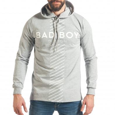 Мъжки сив суичър с голям надпис Bad Boy it290118-95 2