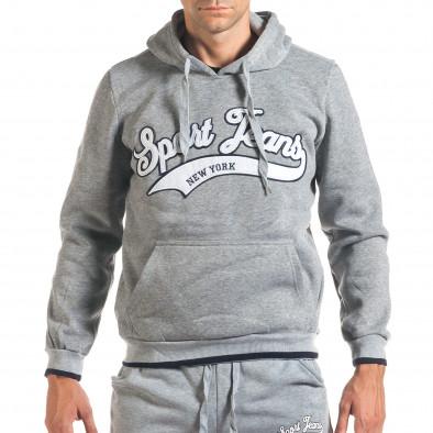 Мъжки сив спортен комплект с голям надпис it160916-69 4