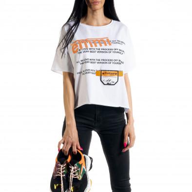 Loose fit дамска тениска в бяло il080620-11 2