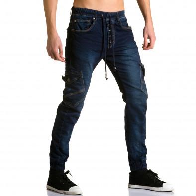 Мъжки тъмно сини дънки-долнище с джобове на крачолите Justing 5