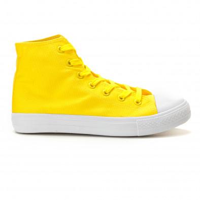 Мъжки жълти високи кецове изчистен модел it260117-51 2