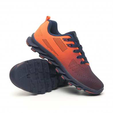 Синьо-оранжеви маратонки с релефна подметка it171019-1 4