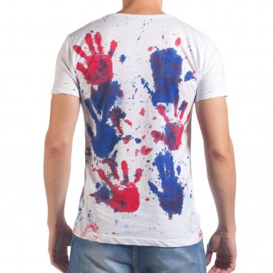 Мъжка бяла тениска със сини и червени отпечатъци il060616-49 3