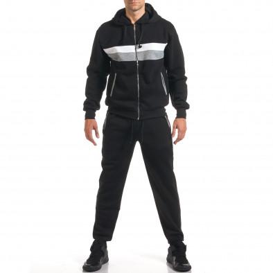 Мъжки черен спортен комплект с бяла и сива лента it160916-67 2