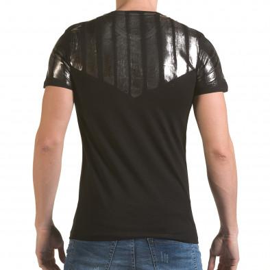 Мъжка черна тениска със сребрист принт il170216-51 3