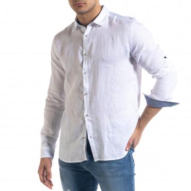 Ленена мъжка риза в бяло tr110320-94 2