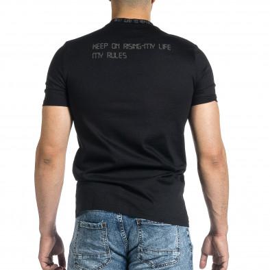 Мъжка черна тениска с декорирано бие tr150521-7 4