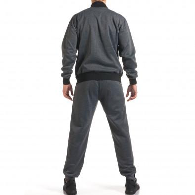 Мъжки тъмно сив спортен комплект с декоративен цип it160916-76 3