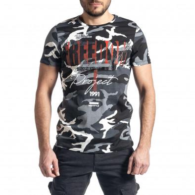Мъжка тениска сив камуфлаж с принт tr010221-23 2