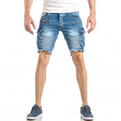 Мъжки рокерски къси дънки в синьо с карго джобове it040518-71 2
