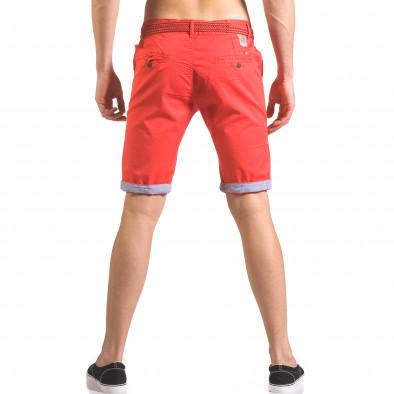 Мъжки червен къс панталон с плетен колан ca050416-55 3