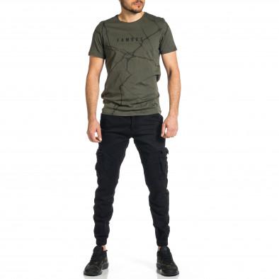 Мъжки черен карго панталон Jogger & Big Size tr270421-12 4