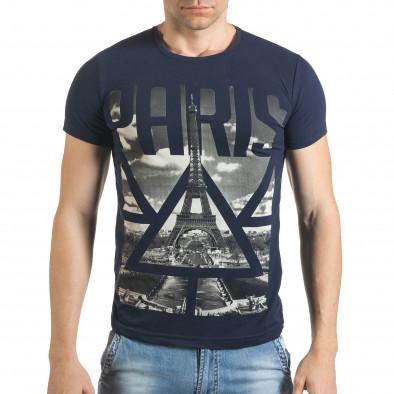 Мъжка синя тениска с яка щампа отпред il140416-41 2