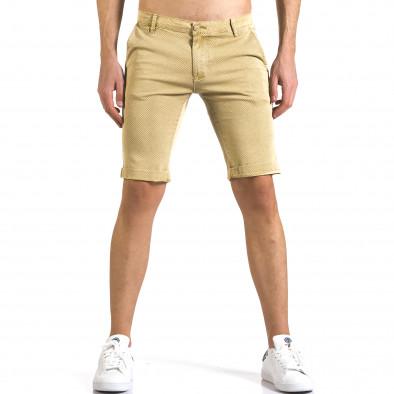Мъжки жълти къси панталони с малки ромбчета it110316-45 2
