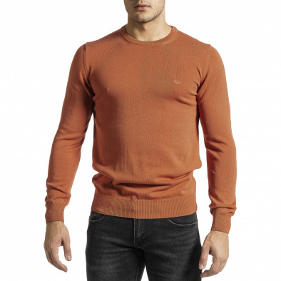 Фин памучен мъжки оранжев пуловер tr231220-3 2