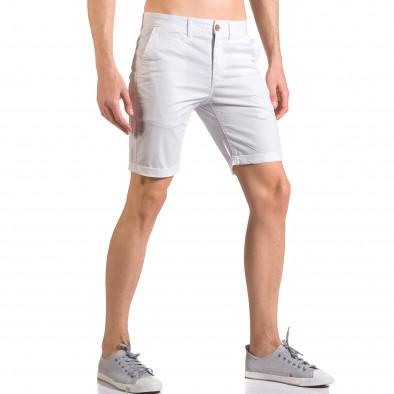 Бели мъжки къси панталони с италиански джобове ca050416-62 4