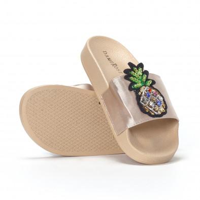 Бежови дамски чехли с ананас it230418-37 4