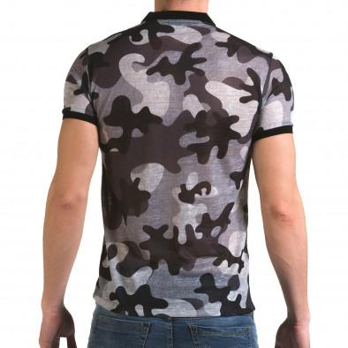 Мъжка тениска с яка сив камуфлаж Lagos 4